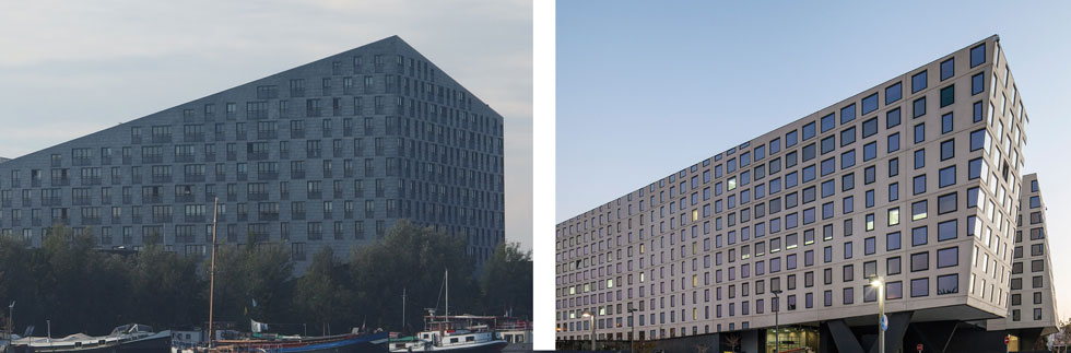 """מימין: הנחש התל אביבי של """"בר אוריין אדריכלים"""". משמאל: בית הלוויתן של De Architekten Cie ההולנדי. בנחש התל אביבי משרדים עבור כ-2,000 עובדים של רשויות המסים והרווחה. בלוויתן ההולנדי כ-214 יחידות דיור, שני שלישים מהן דיור ציבורי  (צילום: עמית גרון, Guilhem Vellut, cc)"""