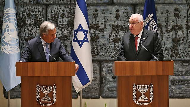 Guterres and Rivlin (Photo: Ohad Zwigenberg)
