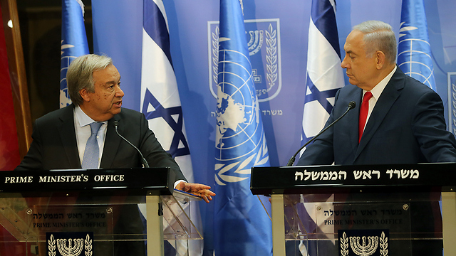PM Netanyahu and UN Secretary-General António Guterres (Photo: Alex Kolomoisky)