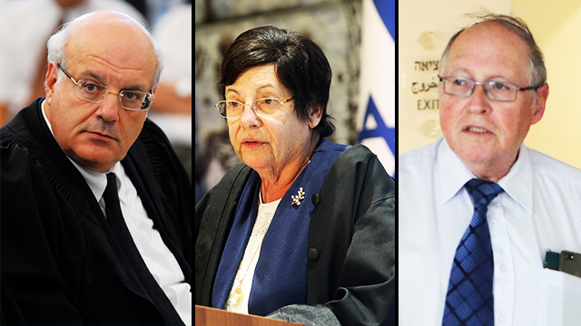 Three of the judges ruling against prolonged detainment: Hanan Melcer (L), Miriam Naor and Elyakim Rubinstein (Photo: Alex Kolomoisky, Guy Assayag) (Photo: Alex Kolomoisky, Guy Assayag)