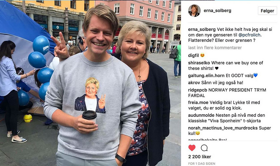 Solberg and her campaign manager, seen wearing a shirt with her drawing (Illustration: Amit Shimoni)