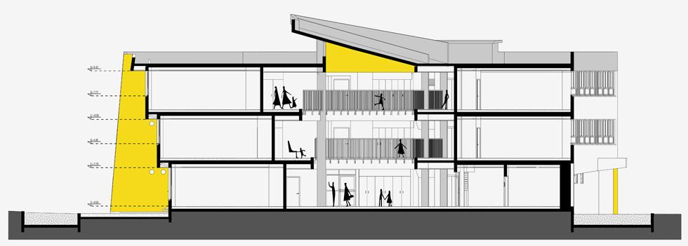"""תלמידי בית הספר השתתפו בסדנת פעילות עם האדריכלית במהלך תכנונו. """"אחת הבעיות היא שהציבור הרחב לא מבין באדריכלות ולכן גם לא יודע להעריך אותה"""", אומרת האדריכלית. """"סדנה מסוג זה פותחת לתלמידים צוהר להבנה""""  (תוכנית: אדר' מרינה סמבליאן, באה אדריכלים)"""