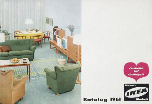 הטלוויזיה נכנסת למרכז הסלון בקטלוג של 1961 (צילום: inter ikea systems)