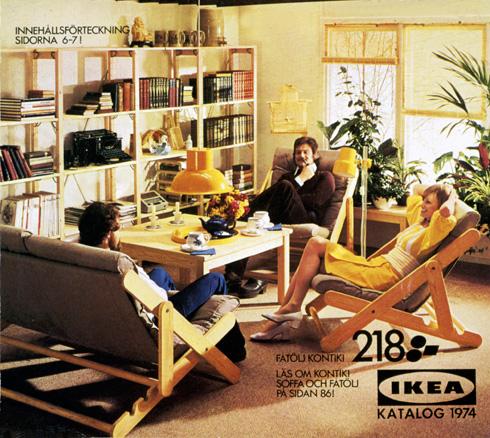 ספריית עץ קלילה וישיבה נינוחה בקטלוג של 1974 (צילום: inter ikea systems)