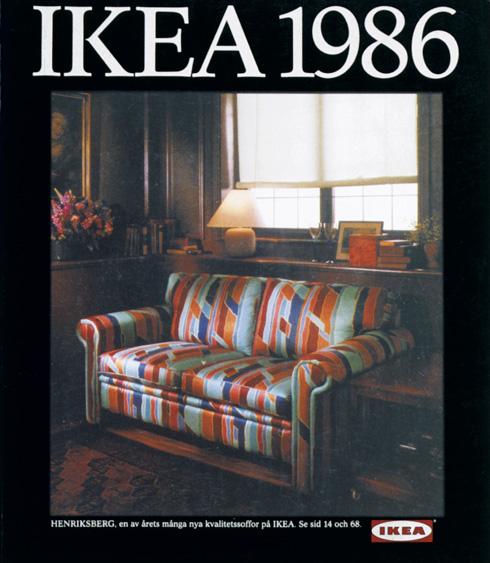 ספה נפתחת ומבריקה, ושאינה מזמינה, בקטלוג של 1986 (צילום: inter ikea systems)