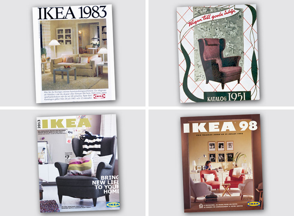 מימין למעלה: הקטלוג של 1951, אז החנות עוד לא ייצרה את רהיטיה בעצמה. את הכורסה אפשר לקנות גם היום (בעדכון מינורי, שאותו אפשר לראות בשער של קטלוג 2013, למטה משמאל). בישראל היא עולה 1,100 שקלים. ואיך נראה שער 2018? אותו תמצאו בסוף הכתבה (צילום: inter ikea systems)