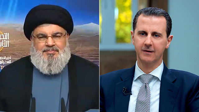 Hassan Nasrallah (L) and President Assad (Photo: Reuters)
