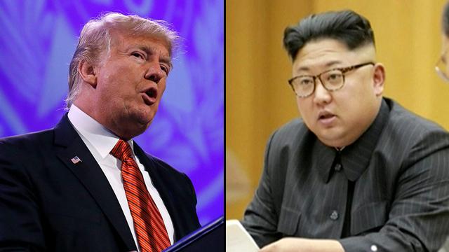 """האמריקנים הזהירו מפני """"תגובה צבאית מסיבית"""". טראמפ וקים ג'ונג און (צילום: AFP, רויטרס)"""