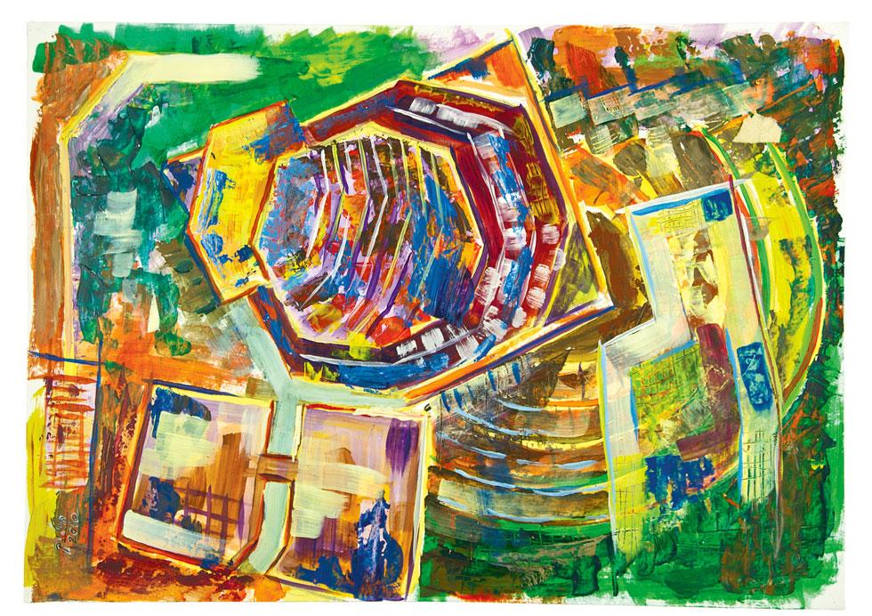 הציור, שתמיד היה חלק מעשייתו של ערד, הפך לדרך הביטוי המרכזית שלו בעשור האחרון לחייו. גם בציור ביטא את חשיבתו האדריכלית (באדיבות חיליק ערד)