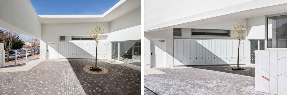 """מבנה המעון החדש משתרע על פני כ-900 מטרים רבועים. ברחבת הכניסה נטוע עץ לימון צעיר ואל הקיר צמודים תאים אישיים לאחסון כסאות הבטיחות של הילדים, המובאים למעון בהסעה ציבורית. """"היה לנו חשוב"""", אומר האדריכל דורון שינמן, """"לתת להורים ולילדים את ההרגשה שהם מקבלים התייחסות רצינית ואכפתית""""  (צילום: איתי בנית)"""