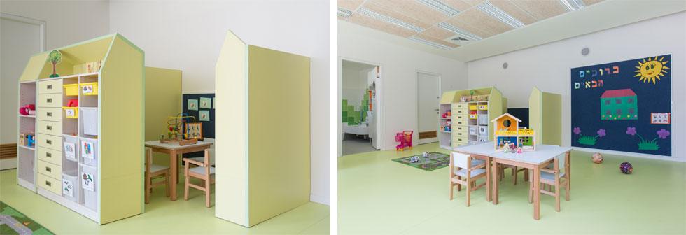 בחלל המרכזי של הכיתה יש שני אזורים אינטימיים לעבודה יחידנית עם ילד. אזורים אלה מוגדרים באמצעות מחיצות אחסון נמוכות וצבעוניות, והריהוט בהם מעוצב בחן רב   (צילום: דור נבו)