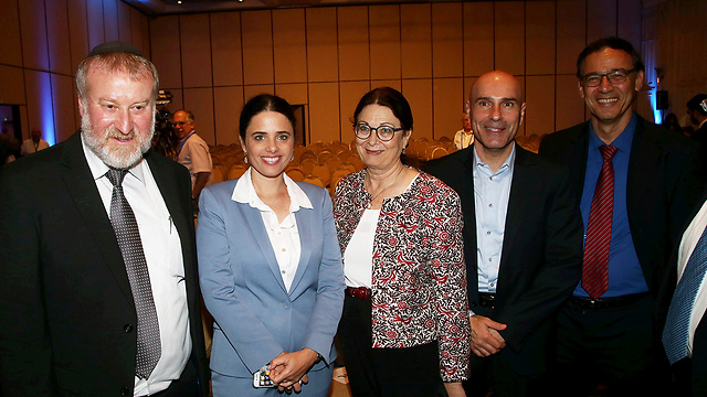 Naveh, second from the right, with the top officials of the justice system (L-R): Attorney General Mandelblit, Justice Minister Shaked, Supreme Court Chief Justice Hayut and State Prosecutor Nitzan (Photo: Yariv Katz)