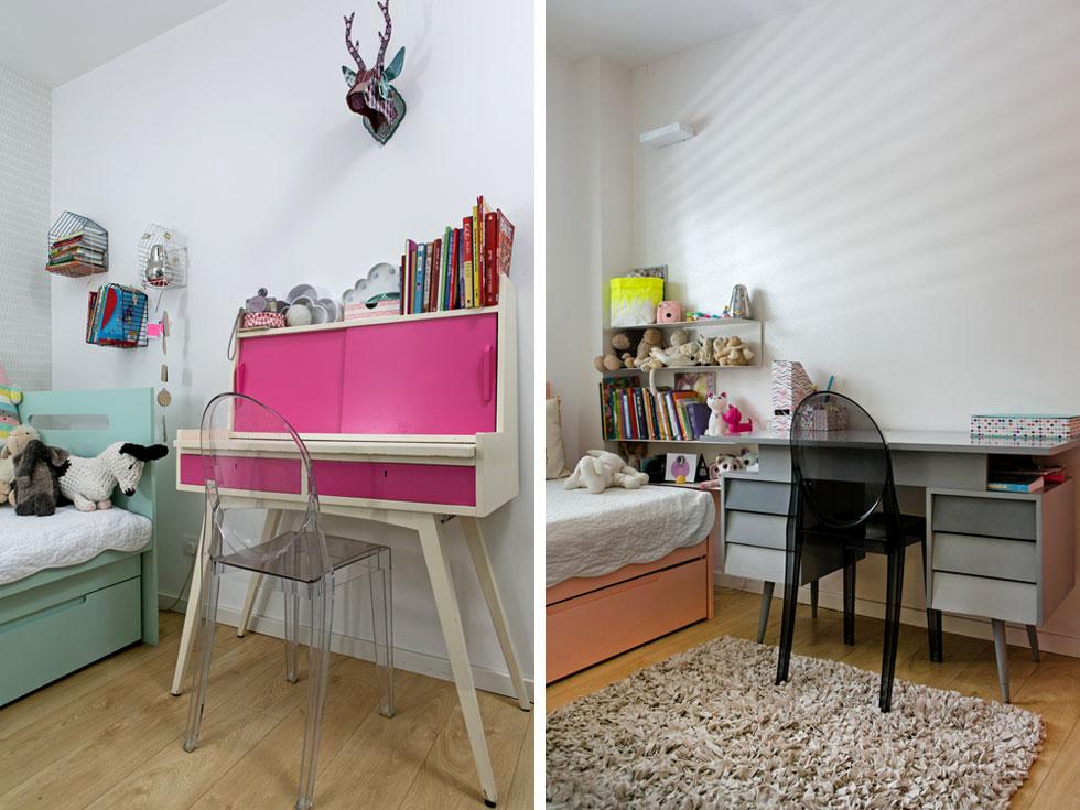 שולחנות וינטג' שנצבעו מחדש וכסאות ''גוסט'' שקופים בחדריהן של שתי הבנות הגדולות יותר. בתחילה חשבו לייצר לשלוש הבנות מרחב גדול ומשותף עם מחיצות, ובסופו של דבר, אחרי ששאלו את פיהן, החליטו על חדרים נפרדים, קטנים (צילום: שירן כרמל)