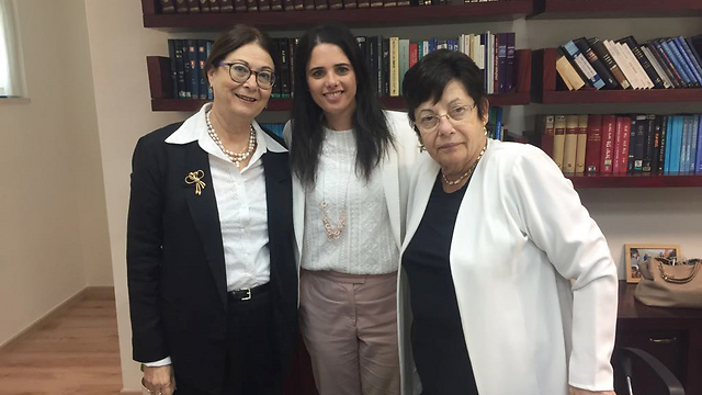 Incoming Chief Justice Hayut with Justice Minister Shaked and outgoing Chief Justice Naor (Photo: Justice Minister's spokesman)