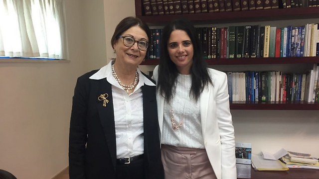 Chief Justice Hayut (L) and Justice Minister Shaked (Photo: Justice Ministry Spokesmanship)