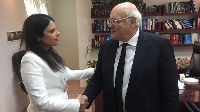 Justice Minister Shaked with incoming Deputy Chief Justice Melcer (Photo: Justice Minister's Spokesperson)