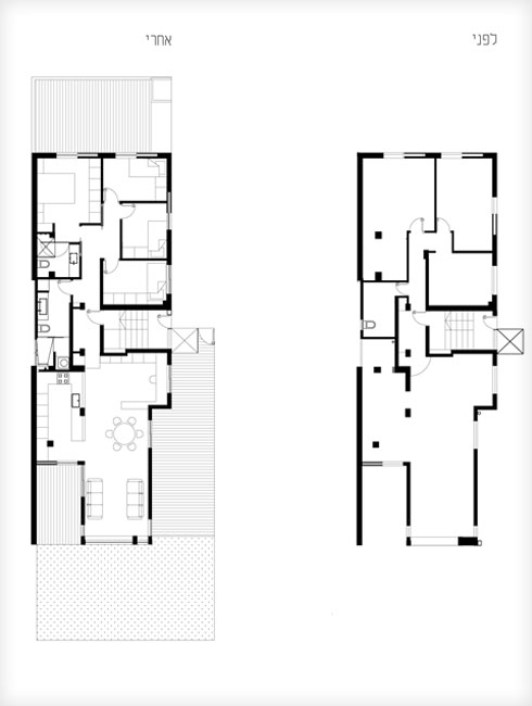 תוכנית הדירה, לפני השיפוץ (מימין) ולאחריו (תוכנית: אדריכלית טולה עמיר)