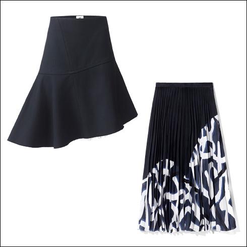 חצאית פליסה עם הדפס גרפיטי, 399 שקל; חצאית מיני עם סיומת פרומה, 349 שקל (צילום: הנס מוריץ)