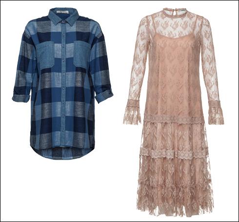 שמלת תחרה ורודה, 299.90 שקל; חולצה משובצת, 199.90 שקל (צילום: אודי דגן)