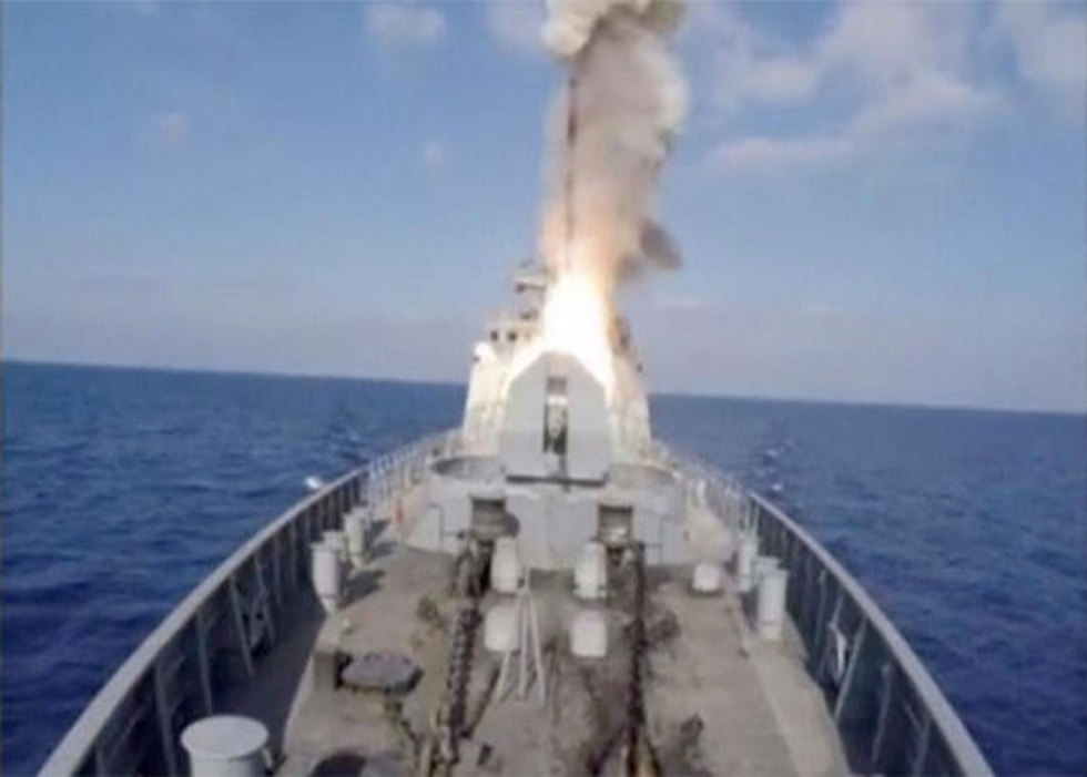 A Russian army ship blasting an Islamic State target in the Mediterranean (Photo: Reuters)