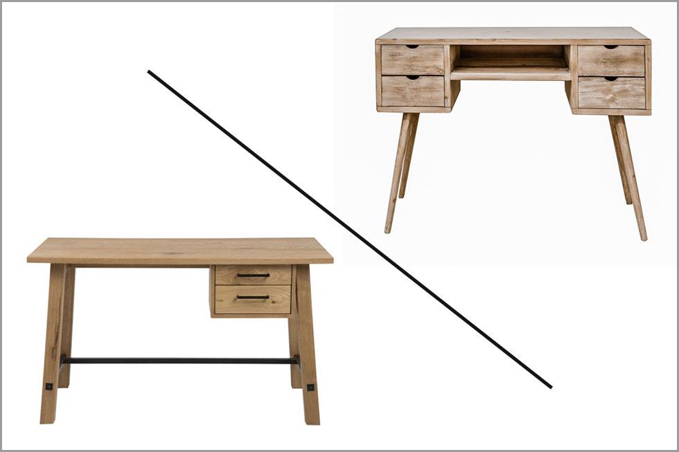מימין: קונסולה של ONE PIECE, משמאל:  שולחן כתיבה של פלורליס. 1,180 שקל הפרש (צילום: סטודיו פלורליס ובאדיבות one piece)