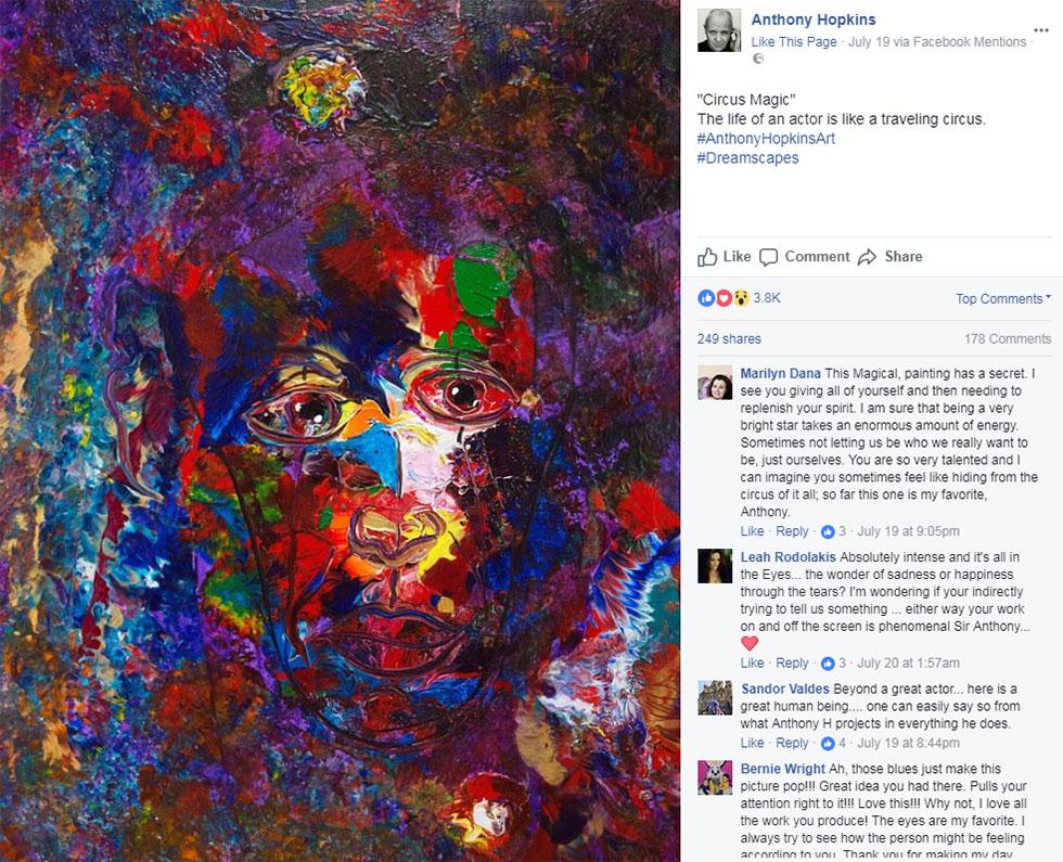 """""""Circus Magic"""" - יצירתו של אנתוני הופקינס (facebook)"""