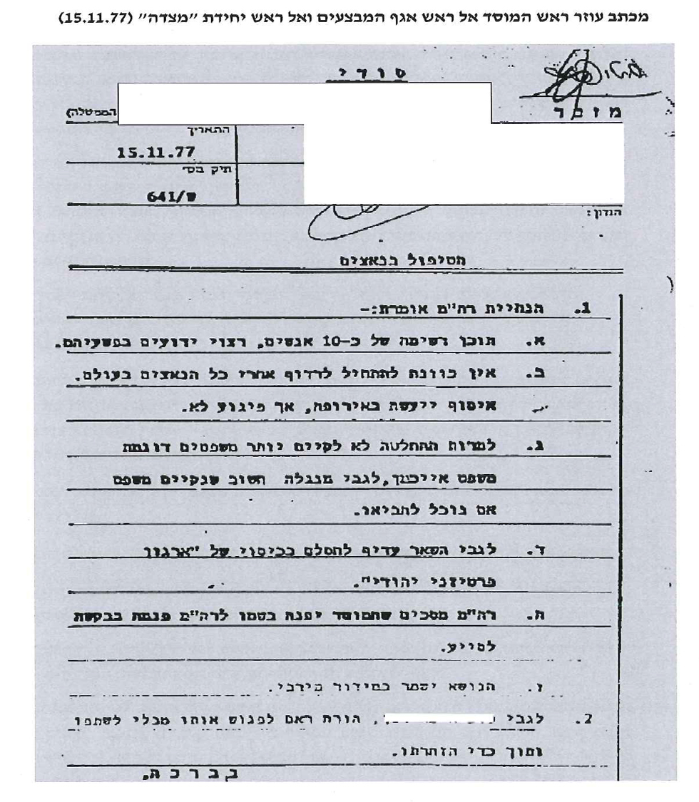 A letter sent by the Mossad chief's assistant to the heads of the operations department and Masada unit following Begin's order