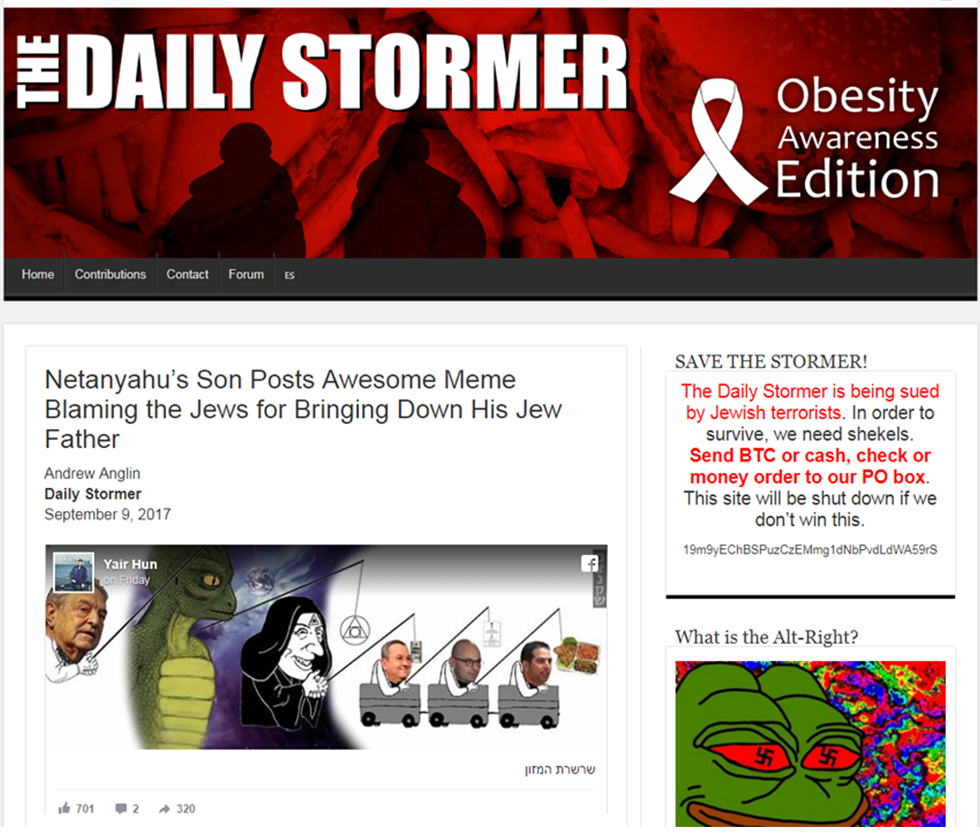 Neo-Nazi website The Daily Stormer's headline