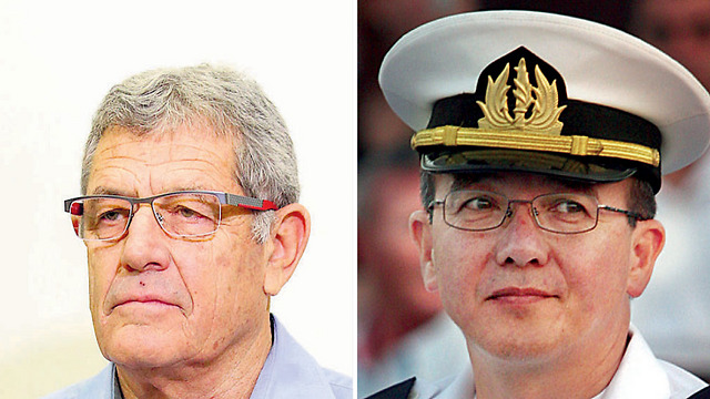 "State witness Miki Ganor (L) and former navy commander Eliezer ""Chiney"" Marom"