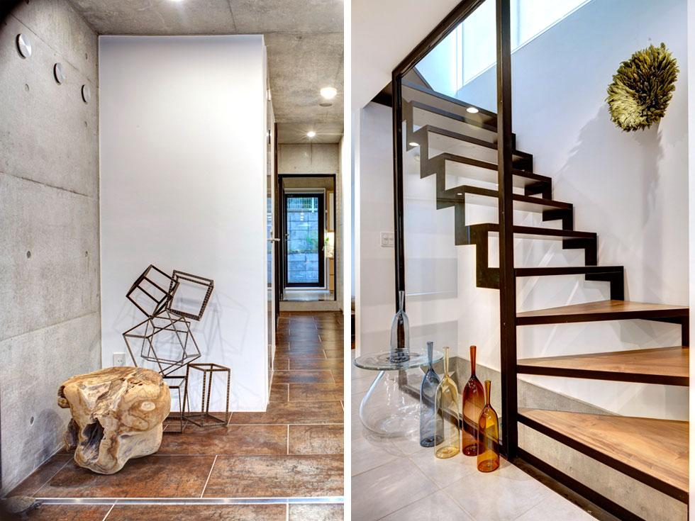 גרם המדרגות אל קומת חדרי השינה. הבית מיועד להימכר לקהל ספציפי: משקיעים מהונג קונג או מרוסיה (צילום: Anatole Papafilippou - TokyoPhotoStudio.com)
