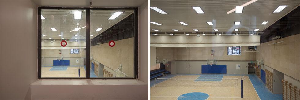 במרכז יש גם אולם התעמלות ומשחקי כדור, שישמש גם את תלמידי בית הספר שמעל מרכז הספורט   (צילום: ליאור גרונדמן)