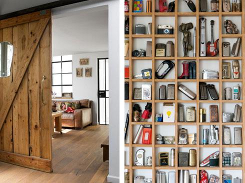 מימין: אוסף המצתים של בעל הבית. משמאל: חדר העבודה (צילום: שירן כרמל)