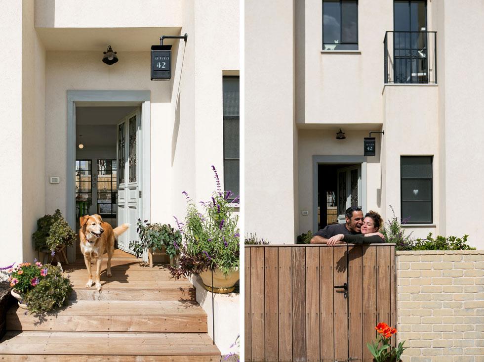 """מימין: עתר ונעם דקל בפתח ביתם. משמאל: מדרגות עץ מובילות אל דלת הכניסה שנרכשה בשוק הפשפשים, שופצה ונצבעה מחדש. """"עתר"""", מספרת האדריכלית הדר חסיד-סופר, """"ביקשה רק שיהיה בית רחב ידיים... לנעם היה חשוב שתהיה אפשרות להפוך את הבית (בעתיד) ליחידות דיור נפרדות עבור הילדים""""     (צילום: שירן כרמל)"""
