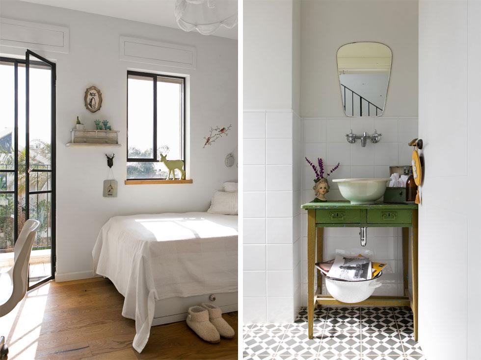 מימין: שירותי האורחים. ברז הקיר, כיור החרס וקערת הברזל לעיתונים מעניקים לחדר מגע אישי. משמאל: אחד מחדרי הילדים, שעוצבו בפשטות   (צילום: שירן כרמל)