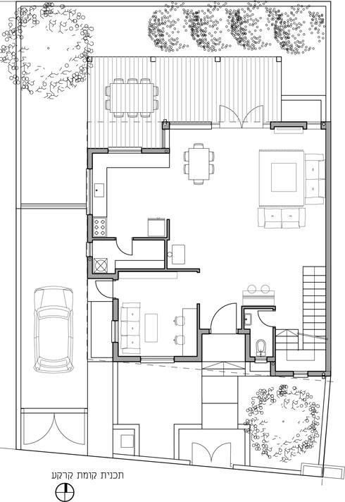 תוכנית קומת הכניסה (תכנית: אדריכלית הדר חסיד סופר)