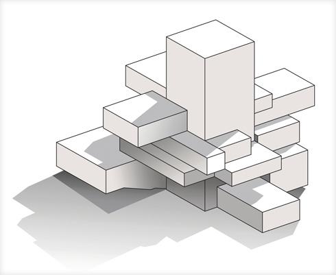 תיבות תלויות על גרעין בטון (שרטוט: מנואל גוטרנד – פאריז , באה אדריכלים ובוני ערים – ישראל)