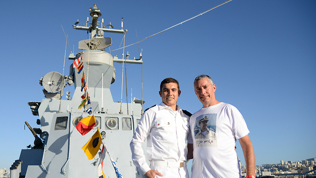 Omer (L) and Eli Koren aboard the INS Tarshish (Photo: IDF Spokesperson's Unit) (Photo: IDF Spokesperson's Unit)
