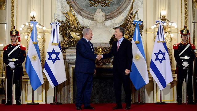 """ראש הממשלה נתניהו פוגש בבואנוס איירס את נשיא ארגנטינה מקרי (צילום: אבי אוחיון לע""""מ)"""