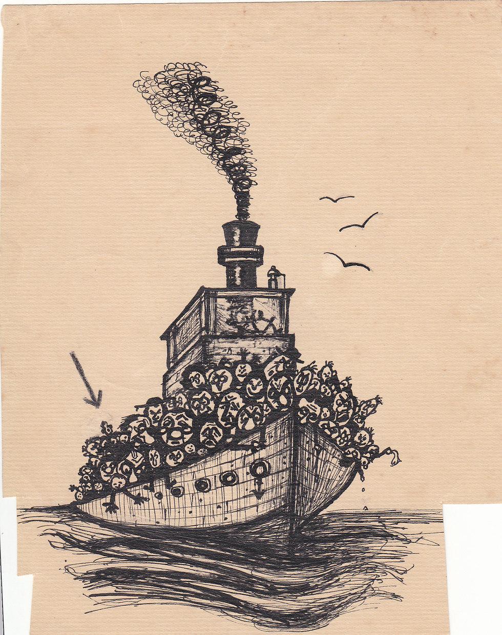 האוניה גלילה. קישון אף צייר את עצמו - מסומן בחץ (מאת אפרים קישון)