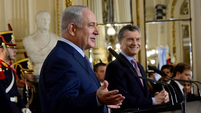Netanyahu with President Mauricio Macri (Photo: Avi Ohayon/GPO)