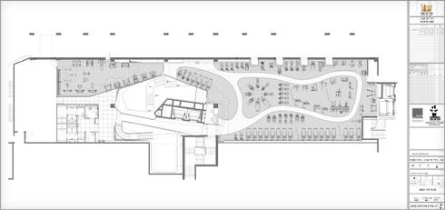 תכנית העיצוב של קומת הבריכות (תוכנית: רן ומוריס אדריכלות ועיצוב)