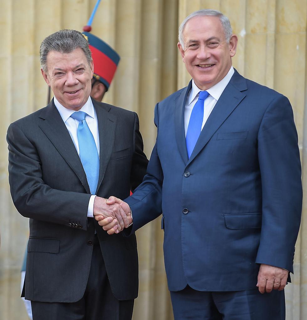 ראש הממשלה נתניהו פוגש בבוגוטה את נשיא קולומביה סנטוס (צילום: AFP)