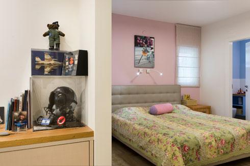 החיבור בין חדר ההורים לחדר העבודה, שבו סודרו תמונותיה וחפציה של תמר (צילום: יונתן בלום)