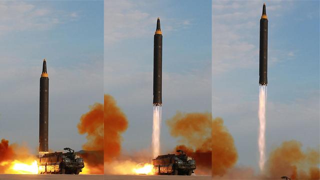 שלבי שיגור הטיל (צילום: AFP)