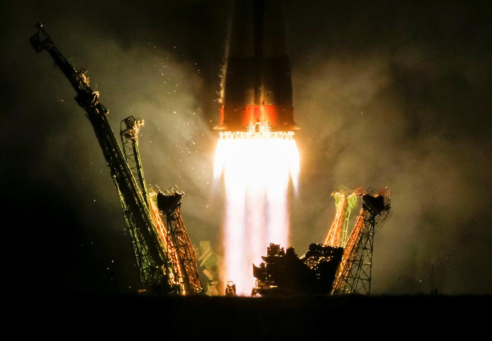 החללית סויוז MS-06 ממריאה מקזחסטן לתחנת החלל הבינלאומית (צילום: רויטרס)