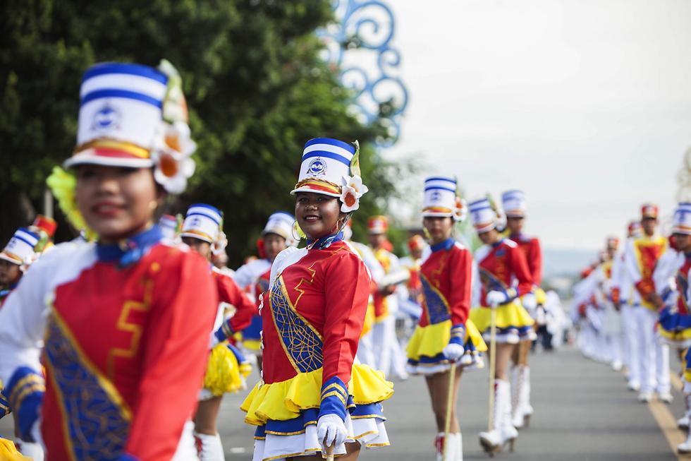מצעד יום העצמאות במנגואה, ניקרגואה (צילום: AFP)