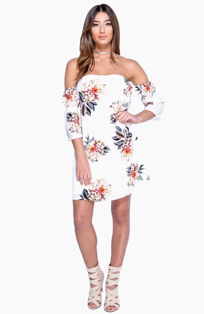 שמלה מודפסת עם מחשוף כתפיים, 89 שקל, ריל אונליין, שופינג לאשה