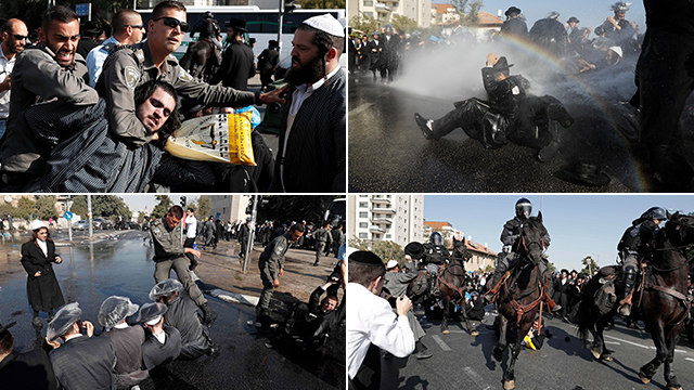 Haredim protest IDF draft (Photos: Reuters, AFP)