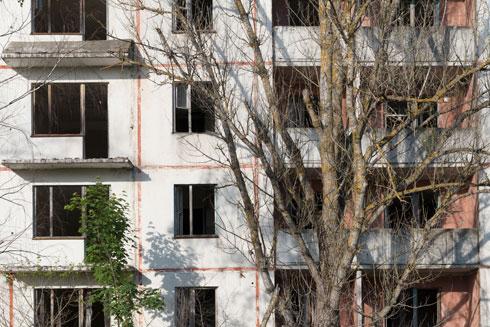 מאות מבנים נטושים נטועים בירוק הדומם סביב צ'רנוביל (צילום: גדעון לוין)