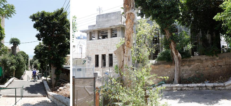 """רחוב מדרגות הנביאים, שבו שוכן בית הכנסת, במורד הכרמל. בעבר היתה שכונת הדר תחתון שכונה יהודית תוססת. היום רוב תושביה ערבים. אחד מהם היה בילדותו """"גוי של שבת"""" בבית הכנסת (צילום: עמרי טלמור)"""